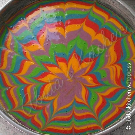 Selbstgemachter Regenbogen Kuchen 4 1 5