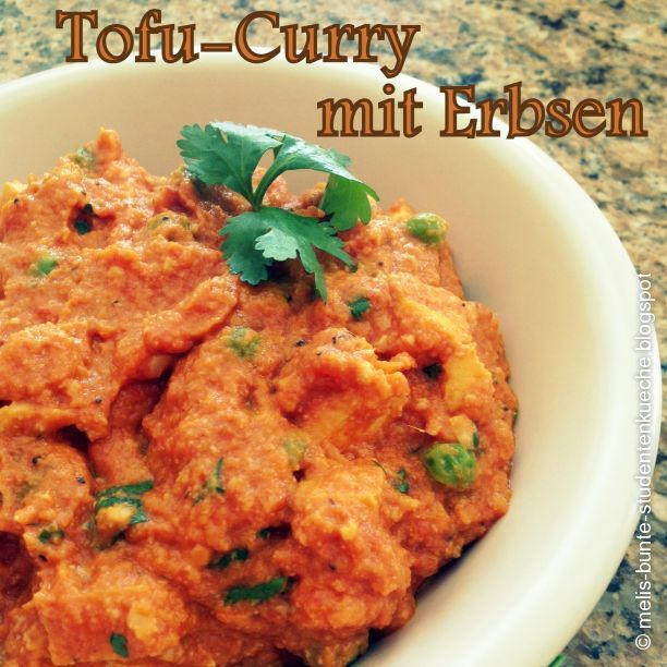 Indisches Tofu-Curry mit Erbsen Naan Brot Indische Rezepte