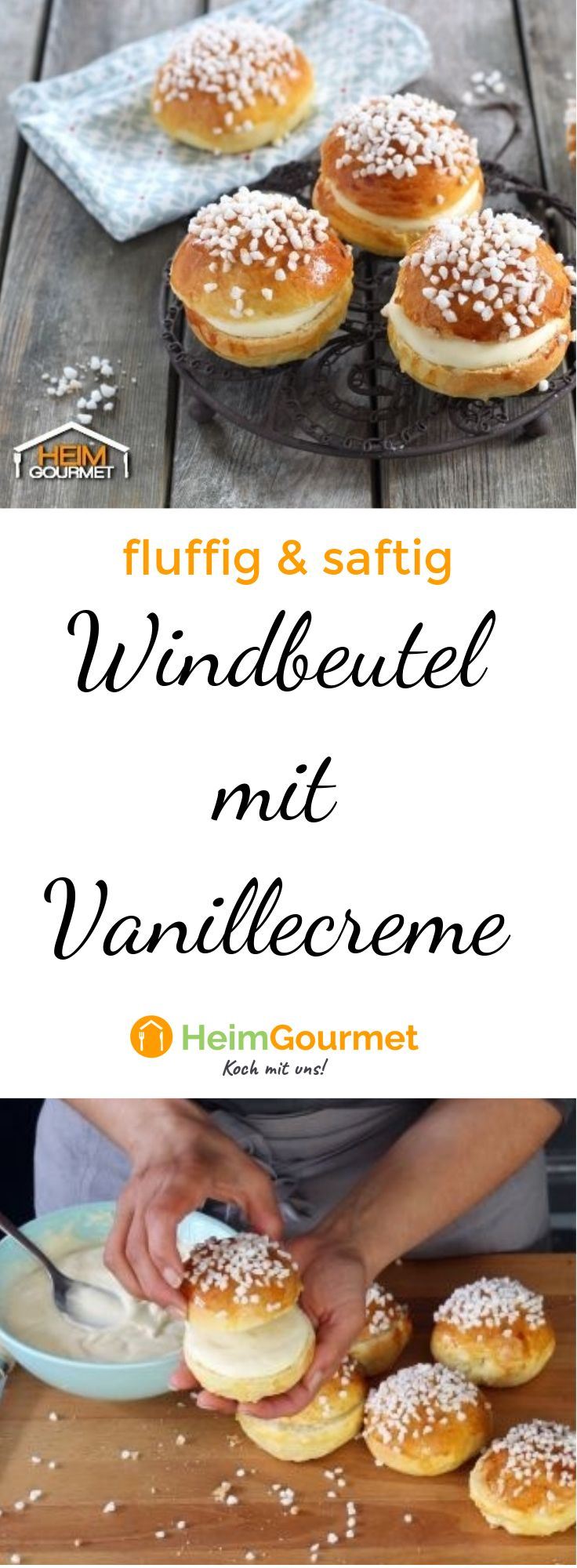 fluffig saftige windbeutel mit vanillecreme. Black Bedroom Furniture Sets. Home Design Ideas