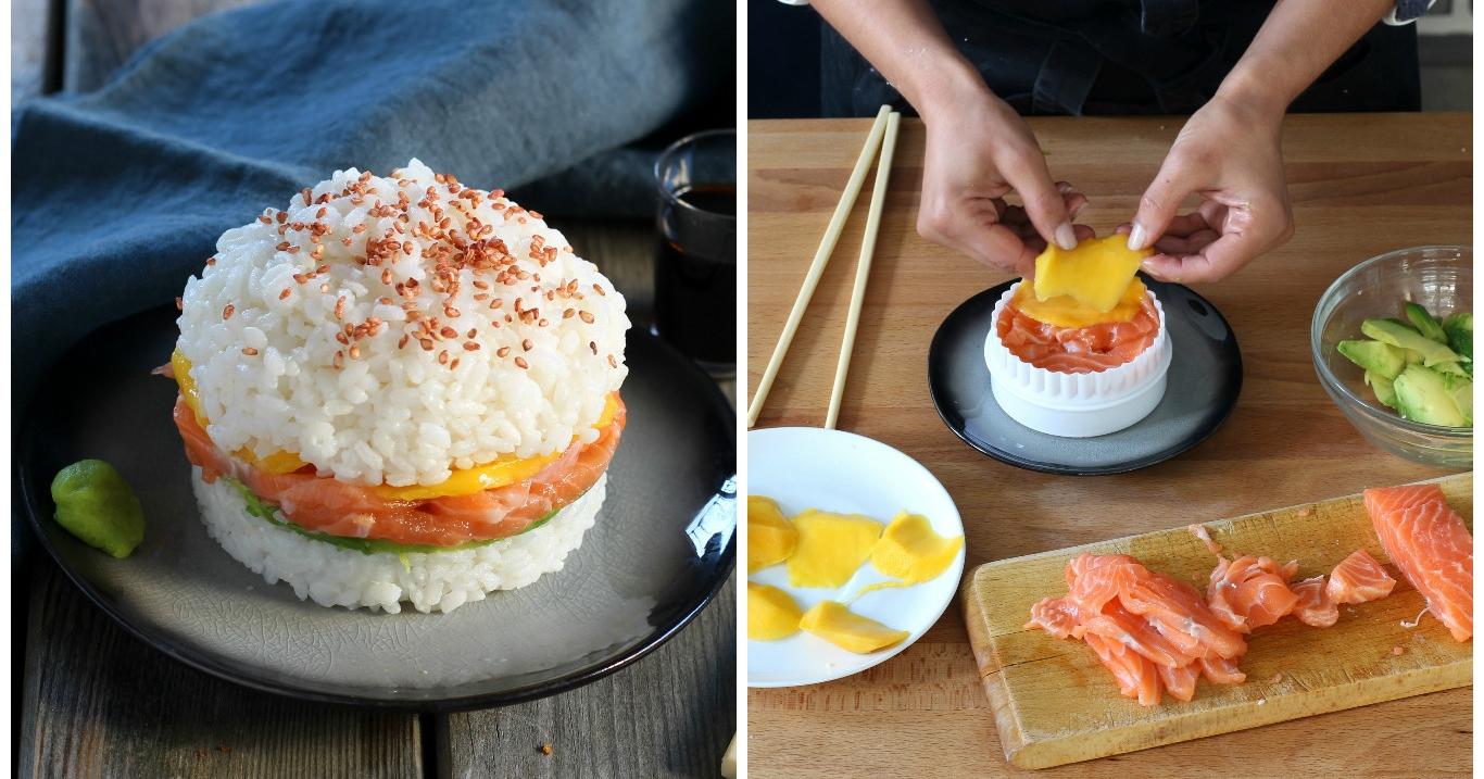 schnell einfach rezept f r sushi burger mit lachs und mango. Black Bedroom Furniture Sets. Home Design Ideas